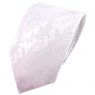 TigerTie Krawatte weiß schneeweiß gemustert - Binder Tie Polyester
