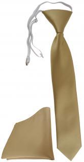 TigerTie Security Sicherheits Krawatte + Einstecktuch dunkelgold einfarbig Uni