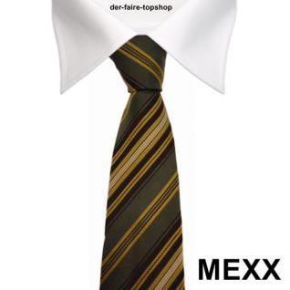 Mexx Seidenkrawatte grün dunkelgrün gold braun silber gestreift - Krawatte Seide