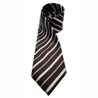 Mexx Seidenkrawatte braun dunkelbraun silber gestreift - Krawatte Seide Binder