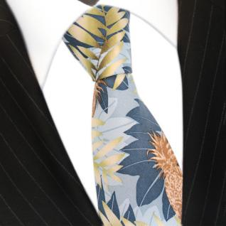 Mexx Krawatte blau grün braun mit Blättermotiv, Seide