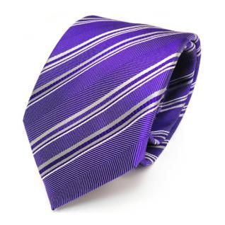 Mexx Seidenkrawatte lila silber grau gestreift - Krawatte Seide Binder Tie