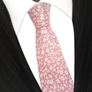 Mexx Krawatte Seide rosa weiss mit Blumenmuster