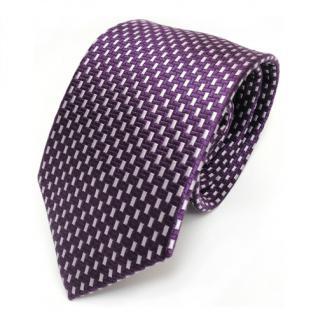 Mexx Designer Seidenkrawatte lila violett silber gemustert - Krawatte Seide Silk