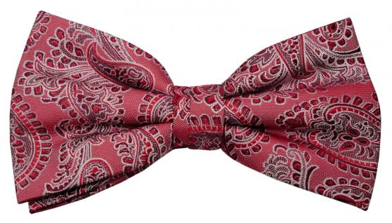 Designer Seidenfliege rot weinrot silber gemustert - Fliege Seide Silk