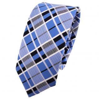 schmale TigerTie Krawatte blau schwarz silber grau kariert - Schlips Binder Tie