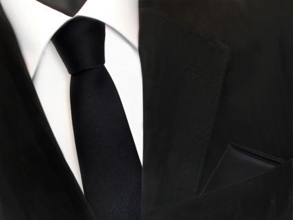 schmale TigerTie Schlips Krawatte + Einstecktuch in schwarz uni einfarbig