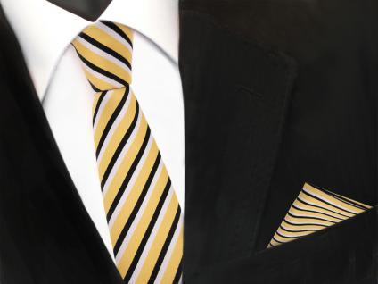schmale TigerTie Designer Krawatte + Einstecktuch in gold schwarz weiß gestreift