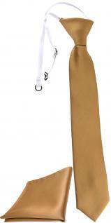 XXL TigerTie Security Sicherheits Krawatte + Einstecktuch in gold einfarbig