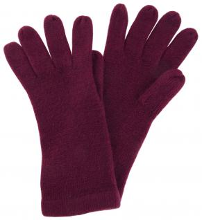 feine Strickhandschuhe in pflaume Uni - Damen Handschuhe Größe M