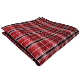 schönes Einstecktuch rot signalrot silber schwarz gestreift - Tuch Polyester