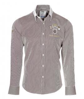 Pontto Designer Hemd Shirt in braun weiß gold gestreift langarm Modern-Fit Gr.M