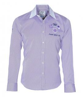 Pontto Designer Hemd Shirt in lila weiß gestreift langarm Modern-Fit Gr.S