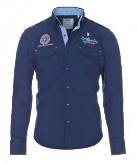 Pontto Designer Hemd Shirt in blau marine einfarbig langarm Modern-Fit Gr. 3XL