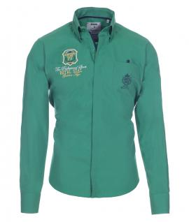 Pontto Designer Hemd Shirt in grün einfarbig langarm Modern-Fit Gr.S
