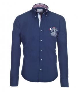 Pontto Designer Hemd Shirt in blau dunkelblau einfarbig langarm Modern-Fit Gr. L