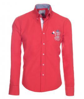 Pontto Designer Hemd Shirt in rot knallrot einfarbig langarm Modern-Fit Gr.S