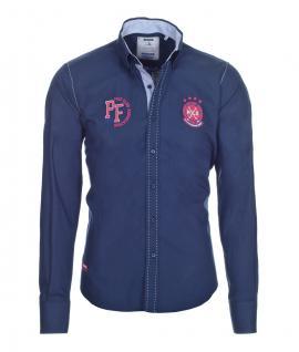 Pontto Designer Hemd Shirt in blau marine rot weiß langarm Modern-Fit Gr. XXL