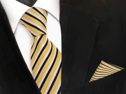 TigerTie Krawatte + Einstecktuch in gold weiß schwarz gestreift - 100% Polyester