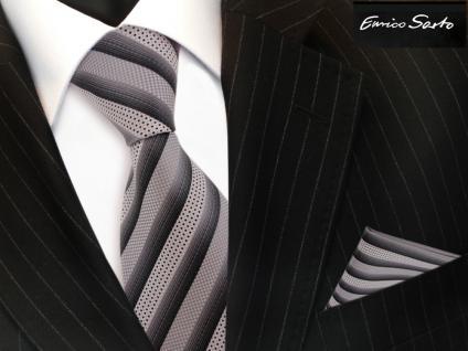Enrico Sarto Seidenkrawatte & Einstecktuch silber grau anthrazit gestreift