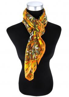 Damen Halstuch orange gelb olivegrün grauweiss geblümt - Tuch Gr. 100 x 100 cm