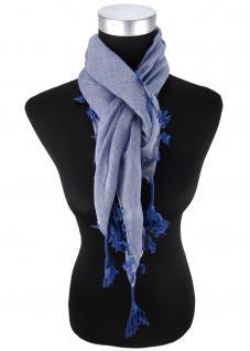 Halstuch blau einfarbig Fransen und Tusseln an den Ecken -Schal Gr. 100 x 100 cm