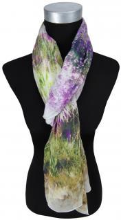 Schal in violett lila grün grau braun beige Motiv Blumenwiese - Gr.180 x 70 cm