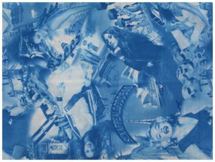 Multifunktionstuch blau weiss Motive - Tuch - Schal - Schlauchtuch - Wundertuch