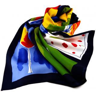 schönes Damen Halstuch bunt - Tuch Damenschal Schal - abstrakt gemustert Blumen