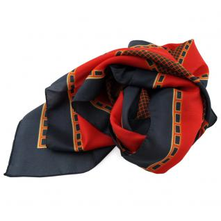 Damen Satin Halstuch rot orange anthrazit 90 x 90 - Tuch Nickituch Schal