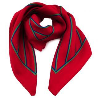 Damen Nickituch in Seide rot grün blau gestreift 53 x 53 - Tuch Halstuch Schal