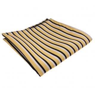 schönes Einstecktuch gold schwarz weiß gestreift - Tuch Polyester
