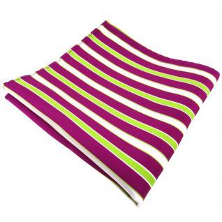 schönes Einstecktuch magenta fuchsia grün weiß gestreift - Tuch 100% Polyester