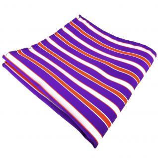schönes Einstecktuch in lila violett orange weiß gestreift - Tuch 100% Polyester