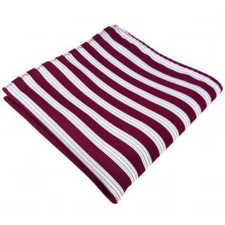 Einstecktuch in rot beere weinrot silber weiß gestreift - Tuch 100% Polyester