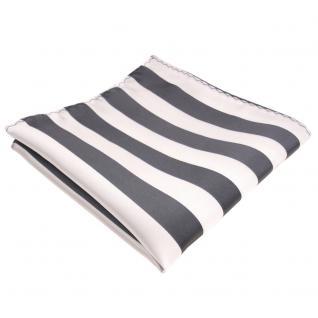 schönes Einstecktuch in grau silber weiss gestreift - Tuch 100% Polyester