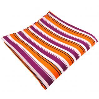 schönes Einstecktuch in orange lila weiß schwarz gestreift - Tuch 100% Polyester
