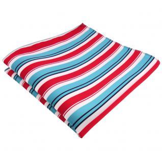 schönes Einstecktuch in rot türkis schwarz weiß gestreift - Tuch 100% Polyester