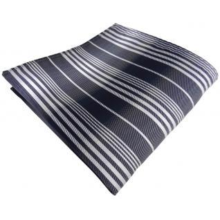 Einstecktuch in anthrazit schwarz silber grau gestreift - Tuch 100% Polyester