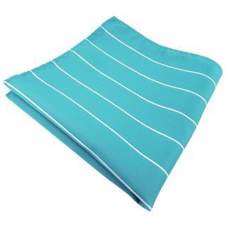 schönes Einstecktuch in türkis türkisblau silber gestreift - Tuch 100% Polyester
