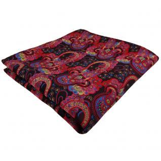 TigerTie Einstecktuch rot dunkelrot rosa blau Paisley - Tuch 100% Polyester