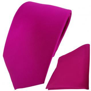TigerTie Designer Krawatte + Einstecktuch magenta einfarbig Uni