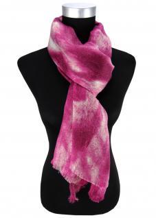 Damen Schal Halstuch magenta pink silber mit Fransen Gr. 185 cm x 75 cm - Tuch