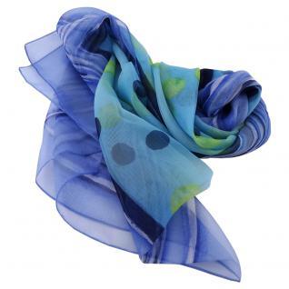 Damen Satin Halstuch blau türkis gelb gepunktet 90 x 90 - Tuch Nickituch Schal