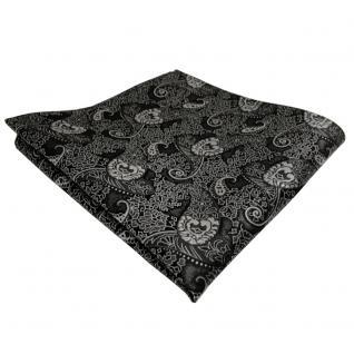 schönes TigerTie Einstecktuch anthrazit schwarz grau Paisley - Tuch Polyester