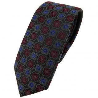 Schmale TigerTie Krawatte in anthrazit weinrot blau schwarz gemustert - Schlips