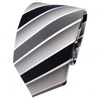 TigerTie Designer Krawatte blau dunkelblau grau weiß gestreift - Binder Tie