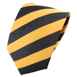 TigerTie Designer Krawatte gelb goldgelb anthrazit schwarz gestreift - Binder