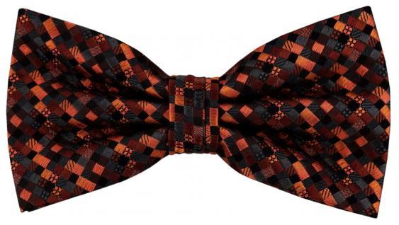 Designer Seidenfliege orange anthrazit schwarz gemustert - Fliege Seide Silk