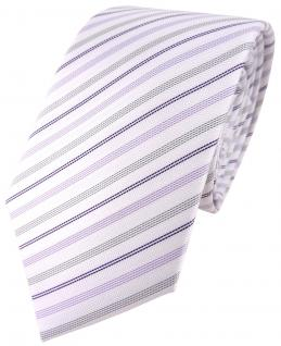 TigerTie Designer Krawatte in lila weiss flieder silber gestreift - Tie Binder